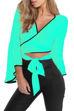 Women Sexy Deep V Flare Sleeve Cross Bandage Blouse Turquoise