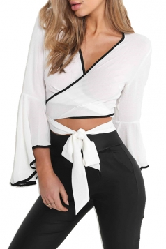 Women Sexy Deep V Flare Sleeve Cross Bandage Blouse White
