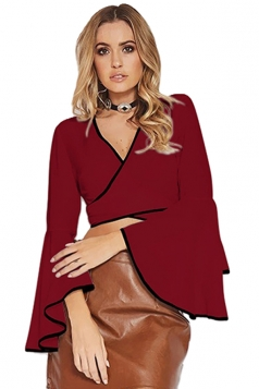 Women Sexy Deep V Flare Sleeve Cross Bandage Blouse Ruby