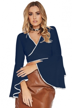 Women Sexy Deep V Flare Sleeve Cross Bandage Blouse Navy Blue