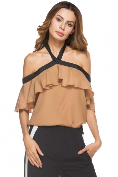 Women Sexy Halter Ruffle Off Shoulder Blouse Apricot