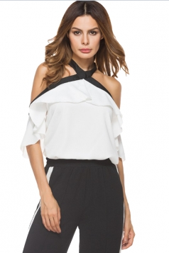Women Sexy Halter Ruffle Off Shoulder Blouse White