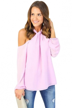 Women Sexy Halter Cold Shoulder Long Sleeve Chiffon Blouse Pink