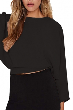 Women Batwing Long Sleeve Solid Color Open Back Blouse Black