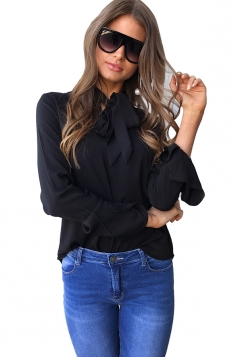 Women Fashion V Neck Long Sleeve Tie Neck Blouse Black