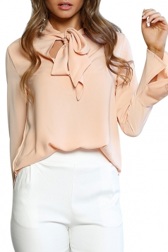Women Fashion V Neck Long Sleeve Tie Neck Blouse Pink