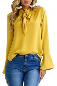 Women Fashion V Neck Long Sleeve Tie Neck Blouse Yellow