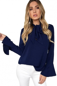 Women Flare Sleeve Bow Neck Blouse Navy Blue