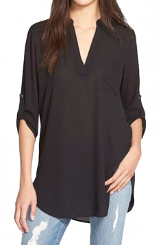 Women Solid Color V Neck Pocket Chiffon Blouse Black