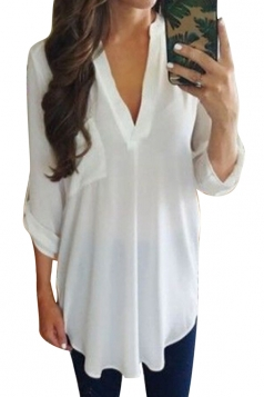 Women Solid Color V Neck Pocket Chiffon Blouse White