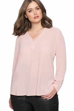 Women Plus Size V Neck Chiffon Blouse Pink
