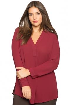 Women Plus Size V Neck Chiffon Blouse Ruby