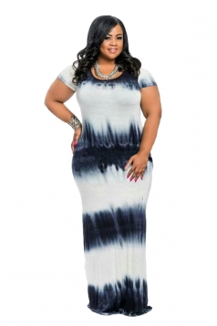 Women Plus Size Tie-Dyed Crew Neck Maxi Dress Black