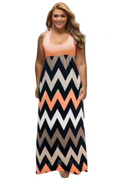 Women Plus Size Stripes Fitted Waist Short Sleeve Maxi Dress Orange