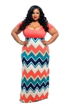 Women Plus Size Stripe Fitted Waist Short Sleeve Maxi Dress Orange Red
