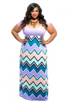 Women Plus Size Stripes Fitted Waist Short Sleeve Maxi Dress Purple