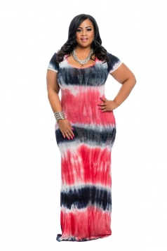 Women Plus Size Tie-Dyed Crew Neck Maxi Dress Watermelon Red