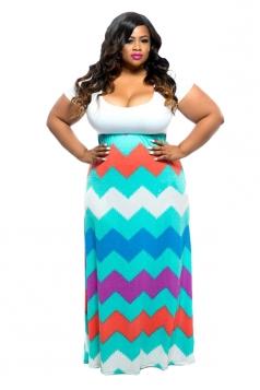 Women Plus Size Stripes Fitted Waist Short Sleeve Maxi Dress White