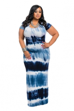 Women Plus Size Tie-Dyed Crew Neck Maxi Dress Navy Blue