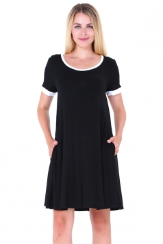 Women Casual Crew Neck Short Sleeve Shirt Dress Black