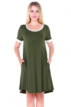 Women Casual Crew Neck Short Sleeve Shirt Dress Green