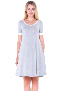 Women Casual Crew Neck Short Sleeve Shirt Dress Light Gray