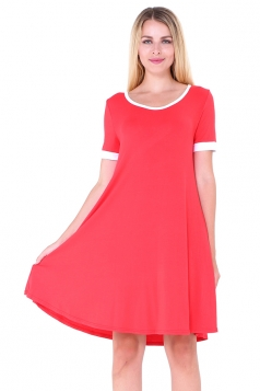Women Casual Crew Neck Short Sleeve Shirt Dress Watermelon Red