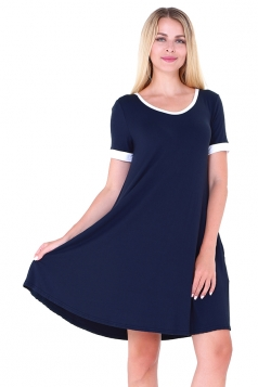 Women Casual Crew Neck Short Sleeve Shirt Dress Sapphire Blue