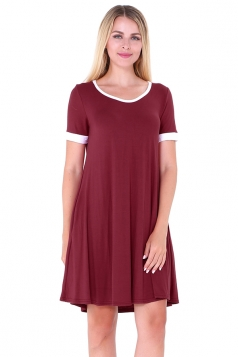 Women Casual Crew Neck Short Sleeve Shirt Dress Ruby