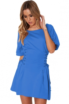 Women Casual Crew Neck Lace Up Short Sleeve Shirt Dress Blue