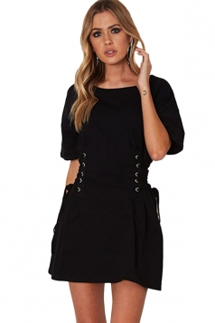 Women Casual Crew Neck Lace Up Short Sleeve Shirt Dress Black