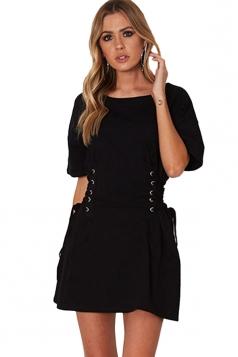 Women Casual Crew Neck Lace Up Short Sleeve Shirt Dress Black