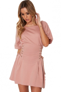 Women Casual Crew Neck Lace Up Short Sleeve Shirt Dress Pink
