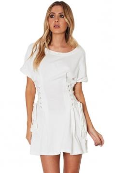 Women Casual Crew Neck Lace Up Short Sleeve Shirt Dress White