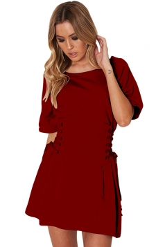 Women Casual Crew Neck Lace Up Short Sleeve Shirt Dress Ruby