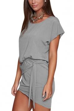 Women Lace Up Asymmetrical Hem Crew Neck Plain Shirt Dress Gray