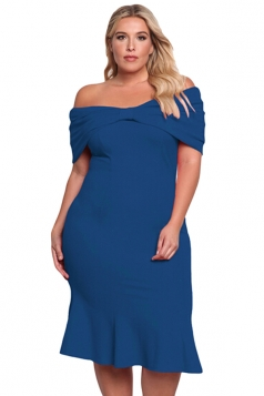 Women Plus Size Off Shoulder Mermaid Midi Evening Dress Blue