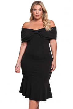 Women Plus Size Off Shoulder Mermaid Midi Evening Dress Black