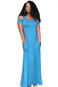 Women Casual Cross String Cold Shoulder Crew Neck Maxi Dress Blue