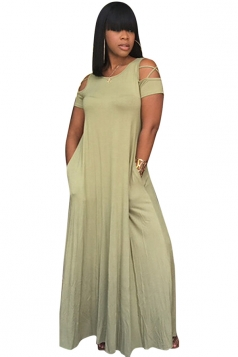 Women Casual Cross String Cold Shoulder Crew Neck Maxi Dress Green