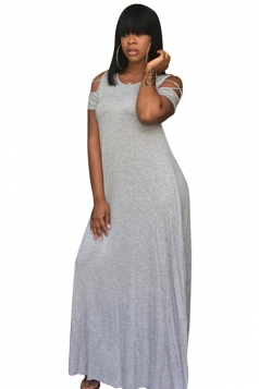 Women Casual Cross String Cold Shoulder Crew Neck Maxi Dress Gray