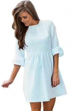 Women Casual White Stripe Flounce Sleeve Seersucker Dress Blue