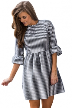 Women Casual White Stripe Flounce Sleeve Seersucker Dress Black