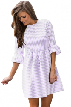 Women Casual White Stripe Flounce Sleeve Seersucker Dress Purple