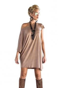 Women Irregular Sleeve Plain Shirt Dress Khaki