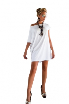 Women Irregular Sleeve Plain Shirt Dress White