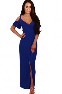 Women Strap V Neck Cold Shoulder Split Maxi Dress Blue