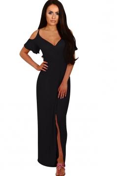 Women Strap V Neck Cold Shoulder Split Maxi Dress Black