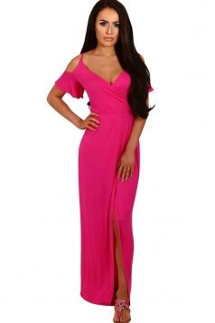 Women Strap V Neck Cold Shoulder Split Maxi Dress Rose Red