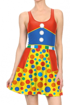 Women Halloween Clown Costume Printed Tank Skater Dress Blue